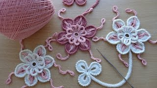 getlinkyoutube.com-Уроки вязания - Цветок крючком - Ирландское кружево - Flower for Irish lace - How to crochet flower