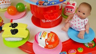 getlinkyoutube.com-Baby Doll Dish Round food toys and Kinder Joy Surprise eggs