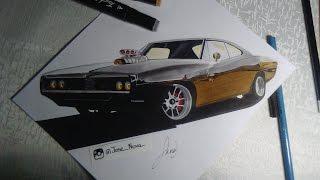 getlinkyoutube.com-Charger Speed Drawing realistic car tutorial / como dibujar autos carros realistas