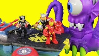getlinkyoutube.com-The Super hero Squad Show Super Hero Headquarters Save Iron Man From Dr. Doom & Imaginext Tentaclor