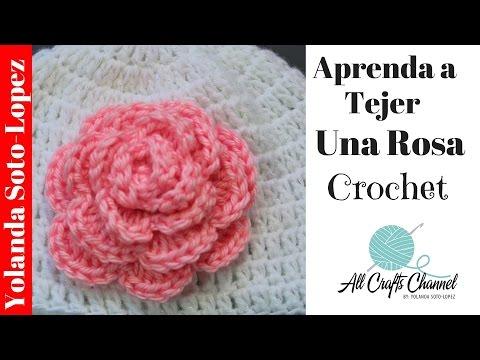 Aprenda a tejer un rosa en #crochet
