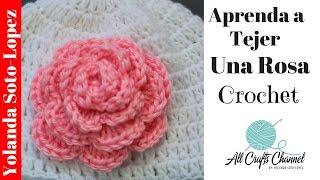 getlinkyoutube.com-Aprenda a tejer un rosa en crochet