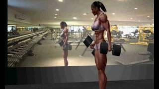getlinkyoutube.com-Female Bodybuilder Bicepscurl