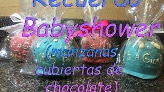 getlinkyoutube.com-Recuerdo para babyshower (manzanas cubiertas de chocolate)