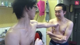 getlinkyoutube.com-【鋼の肉体】殴られても殺気だけで跳ね返す男