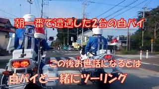 朝一番で遭遇した2台の白バイ、この後お世話になるとは(^_-)-☆    Japan police motorcycle   白バイと一緒にツーリング