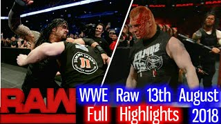 WWE Monday Night Raw 13th August 2018 Hindi Highlights Preview   Roman Reigns Vs Brock Lesnar Result