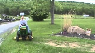 """getlinkyoutube.com-1987 John Deere 318 Lawn And Garden Tractor Onan 46"""" Deck Nice For Sale"""