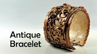 getlinkyoutube.com-Antique / vintage bracelet with flowers - polymer clay TUTORIAL