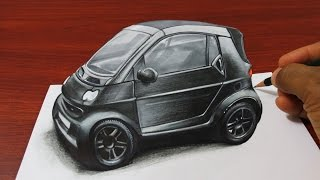getlinkyoutube.com-How to Draw a 3D Smart Car - Anamorphic Drawing