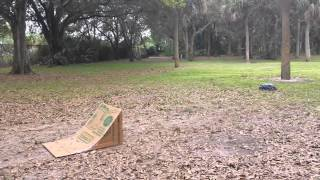 getlinkyoutube.com-Stampede 4x4 jumping ramp made of cardboard