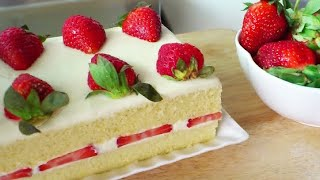 getlinkyoutube.com-Japanese Strawberry Shortcake (草莓奶油蛋糕; Strawberry Cream Cake) **