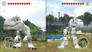 getlinkyoutube.com-LEGO Jurassic World - Indominus Rex vs Skeleton Indominus Rex - CoOp Fight | Free Roam Gameplay [HD]