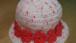 getlinkyoutube.com-Crochet Gorro De Niña de 3 a 6 Años Juego Con Vestido