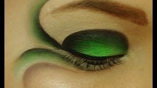 getlinkyoutube.com-Fantasy makeup in green and black, fairies