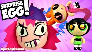 getlinkyoutube.com-SURPRISE EGGS Powerpuff Girls Maylyn + Teen Titans Go Surprise with Bubbles Buttercup & Blossom Toys
