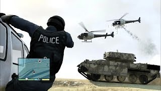 getlinkyoutube.com-GTA V 5 Star Police Chase : Tank Rampage