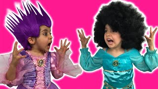 getlinkyoutube.com-Rapunzel Hair Disaster Real Life Disney Princess Movie + Maleficent + Jasmine + PUNK/AFR0 HAIRSTYLE