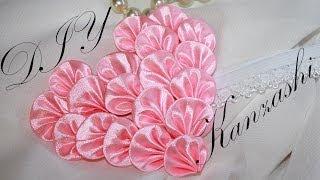 getlinkyoutube.com-Сердце из лепестков Канзаши (мастер класс) / Kanzashi Valentine's day