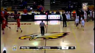 getlinkyoutube.com-Mater Dei's #33 Katie Lou Samuelson gets the bucket with a beyond the half court shot as the second