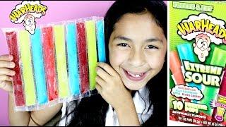 getlinkyoutube.com-War Heads Extreme Sour Freezer Pops Slush Puppie & Smoothie Slush Bars Taste| B2cutecupcakes