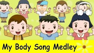 getlinkyoutube.com-My Body Song Medley (Head and shoulders, knees and toes) | Nursery Rhymes Collection - Muffin Songs