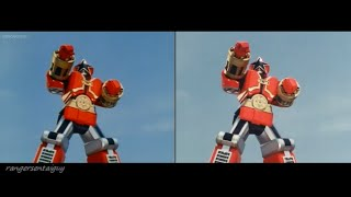 getlinkyoutube.com-Power Rangers Zeo Red Battlezord First Appearance Split Screen (PR and Sentai version)
