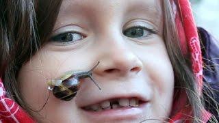 getlinkyoutube.com-Snail Slime on Face - Little Girl an her Snail -- Funny Kids Video with Animal