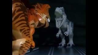 getlinkyoutube.com-Jurassic world t rex and blue vs indominus rex scene in lego version 2
