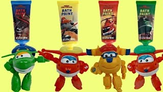 getlinkyoutube.com-Disney FIRE & RESCUE Finger Paint Bath Set / Super Wings, Cars, Toy Surprises, Learn Colors / TUYC