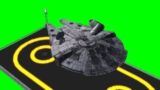 getlinkyoutube.com-Star Wars Millennium Falcon starts from landing platform - free green screen