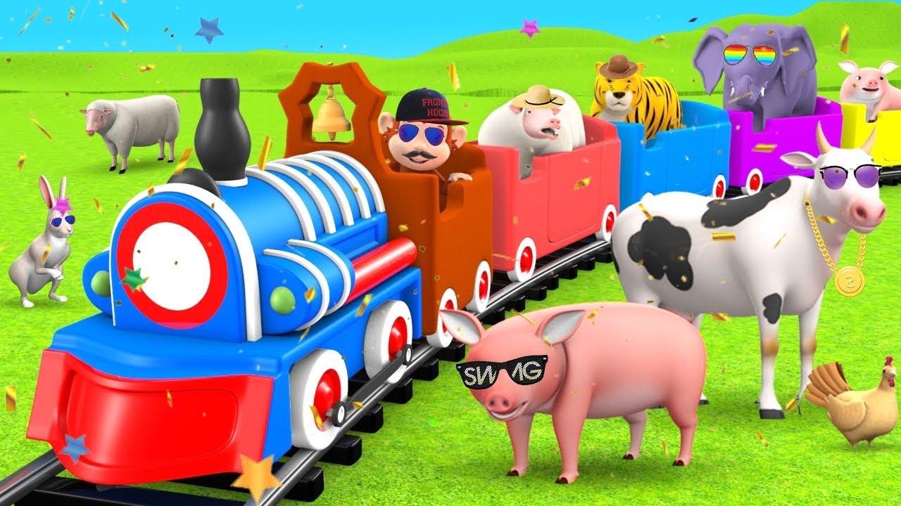 Monkey Train Ride in Forest with Wild Animals Elephant & Tiger | 3D Cartoon Animals Videos