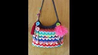 CROCHET How to #Crochet Crazy Scrap Yarn Bag with Puffed V Stitch #TUTORIAL HANDBAG #114 LEARN