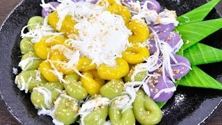 getlinkyoutube.com-ขนมไข่ปลาสามสหาย (ขนมไทย) Three Colors Rice Cake with Palm Sugar and Shredded Coconut