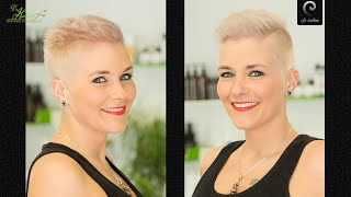 getlinkyoutube.com-pixie inspired extreme short buzzcut haircut Hairstyle 2017 | blonde women undercut headshave