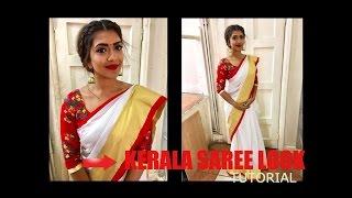 getlinkyoutube.com-Kerala Saree look tutorial | Step by Step| Vithya Hair and Make Up