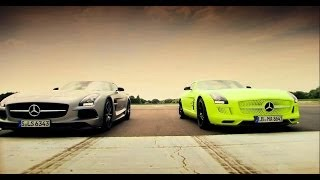 Petrol vs Electric - Mercedes SLS AMG Battle - Top Gear - Series 20 - BBC