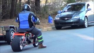 getlinkyoutube.com-Action!!! gx390 vs Predator 420 mini bikes!!