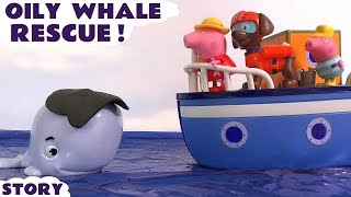getlinkyoutube.com-Peppa Pig Oily Whale Accident with Paw Patrol Zuma Rescue Play Doh Toys English Episode