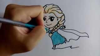 getlinkyoutube.com-สอนวาดรูป ระบายสี การ์ตูน เจ้าหญิง เอลซ่า elsa วาดการ์ตูนกันเถอะ
