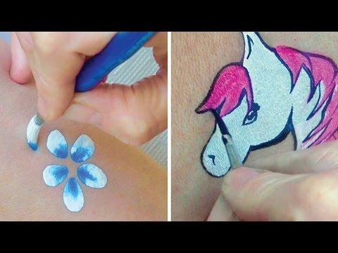 Runde Pinsel benutzen & präzise Pinselstriche üben / Kinderschminken lernen TEIL 3