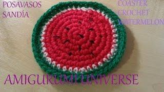 getlinkyoutube.com-DIY Tutorial Posavasos Sandía. Coaster Crochet Watermelon (eng sub) by Amigurumi.Universe