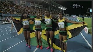 getlinkyoutube.com-Jamaican Women beat USA in 4x100m World - Universal Sports
