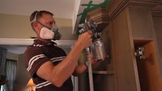 getlinkyoutube.com-How to use a Paint Spray Gun for Clear Coating Kitchen Cabinets