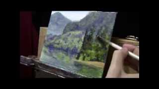 getlinkyoutube.com-How To Paint a Landscape with Depth and Reflections - Acrylic Painting Free Lesson