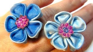 getlinkyoutube.com-#DIY: Cómo hacer anillos con flores de cinta. How to make ribbon flowers rings