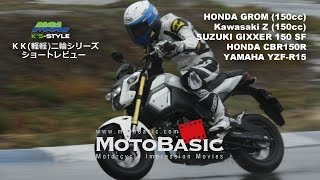 getlinkyoutube.com-注目のKK二輪一気乗り!HONDA GROM & CBR150R / Kawasaki Z125PRO / SUZUKI GIXXER150SF / YAMAHA YZF-R15  ショートレビュー