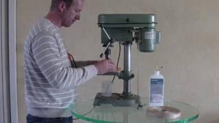 getlinkyoutube.com-How to drill acrylic round hole with mill drill * Rundloch-Fräsbohrer