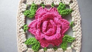 getlinkyoutube.com-РОЗА в квадрате ROSE squared Crochet