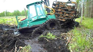 getlinkyoutube.com-Timberjack 810D, logging in mud